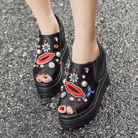 Ericdress Diamond Embroidery Cartoon Women's Flats