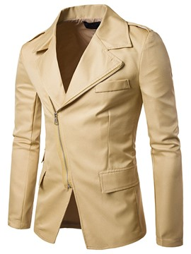 Ericdress Oblique Zipper Solid Color Lapel Men's Jacket