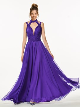 Ericdress A-Line High Neck Backless Beaded Floor-Length Prom Dress