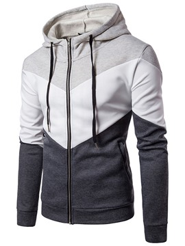 Ericdress Patchwork Hooded Color Block Men's Hoodie