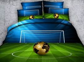 Soccer Ball with Gate Printed Cotton 3D 4-Piece Bedding Sets/Duvet Covers