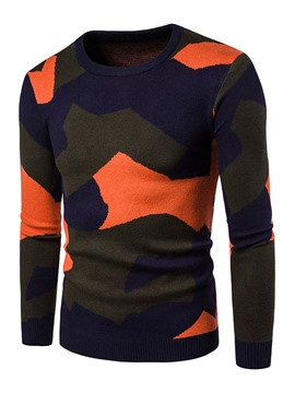 Ericdress Round Neck Color Block Pullover Men's Sweater