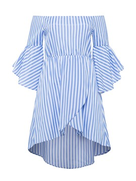 Ericdress Vertical Striped Bell Sleeve Asymmetric A Line Dress