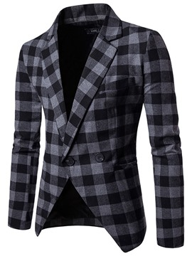 Ericdress Notched Lapel Plaid Men's Blazer