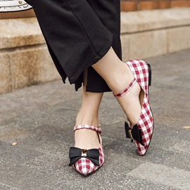 Ericdress Plaid Pointed Toe Flats with Bowknot