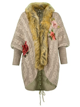 Ericdress Fur Collar Embroidery Cardigan Knitwear