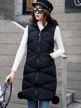 Ericdress Plain Zipper Mid-Length Hooded Vest