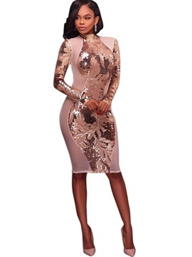 Ericdress backless patchwork sequins bodycon kleid