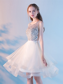 Ericdress A Line Scoop Neck Beaded Short Knee Length Homecoming Dress