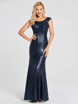 Ericdress Mermaid Cap Sleeve Sequin Floor Length Evening Dress