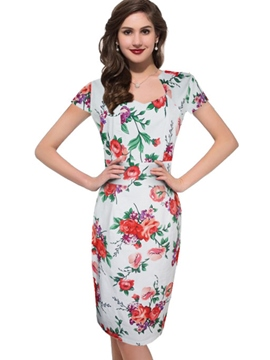 Ericdress Floral Print Short Sleeve Knee-Length Bodycon Dress