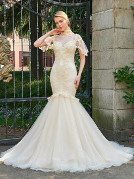 Ericdress Vintage High Neck Appliques Beaded Mermaid Wedding Dress