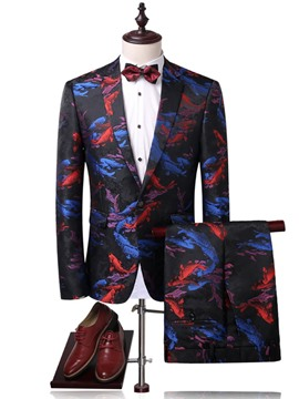 Ericdress Print Color Block Notched Lapel Men's Suit