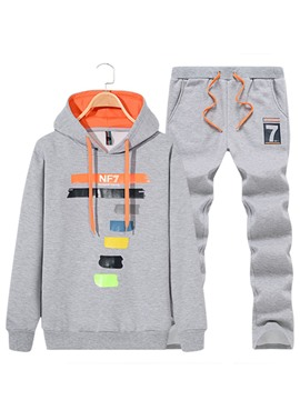 Ericdress Hooded Color Block Men's Sport Suit