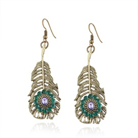 Ericdress Feather Diamante Hollow Out Fashion Earring