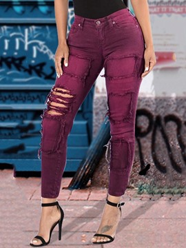 Ericdress Mid-Waist Hole Zipper Jeans