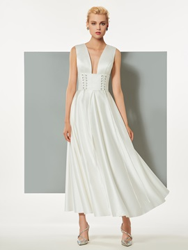 Ericdress A-Line V-Neck Backless Ankle-Length Evening Dress