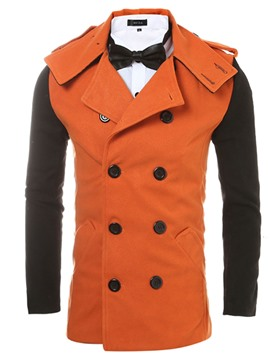 Ericdress Notched Lapel Patchwork Men's Ttrench Coat