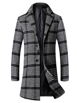 Ericdress Mid-Length Lapel Plaid Slim Vogue Men's Woolen Coat