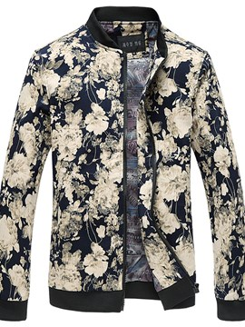 Ericdress Stand Collar Print Men's Jacket