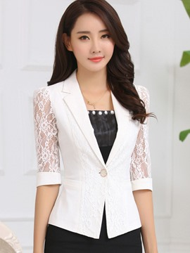 Ericdress see-through un demi demi blazer manchon