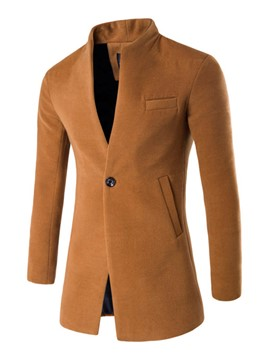 Ericdress Stand Collar Solid Color Slim Men's Coat