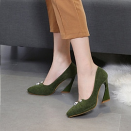 Ericdress Pointed Toe Slip-On Horse-Shoe Heel Pumps
