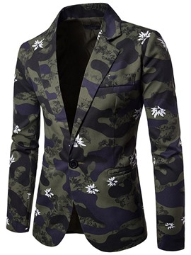 Ericdress Notched Lapel Camouflage Print Men's Casual Blazer