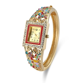 Ericdress Square Case Colorful Rhinestone Women's Watch