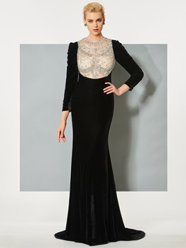 Ericdress Long Sleeves Jewel Beading Mermaid Evening Dress