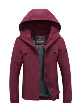 Ericdress Hooded Solid Color Zipper Men's Jacket