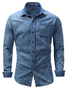 Ericdress Lapel Slim Single-Breasted Long Sleeve Men's Denim Shirt