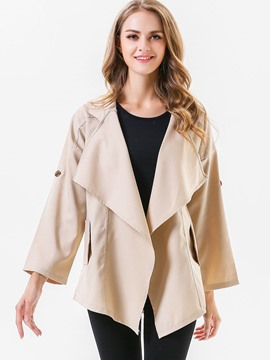 Ericdress Lapel Plain Loose Trench Coat