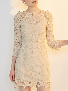 Ericdress Sheath 3/4 Sleeve Lace Short Cocktail Dress
