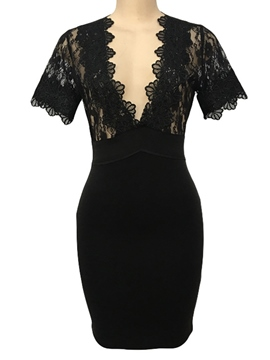 Ericdress V-Neck Lace Hollow Plain Bodycon Dress