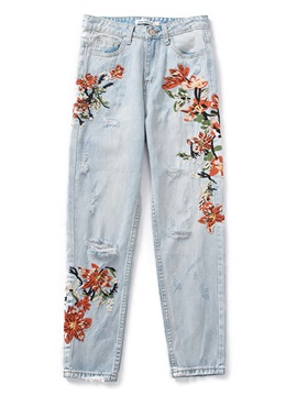 Ericdress Embroidery Floral Button Jeans