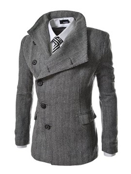 Ericdress Solid Color Lapel Asymmetric Men's Coat