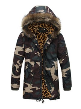 Ericdress Fur Collar Camouflage Thicken Warm Men's Winter Coat