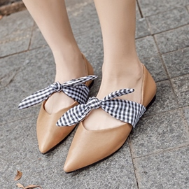 Ericdress Pointed Toe Plaid Flats with Bowknot