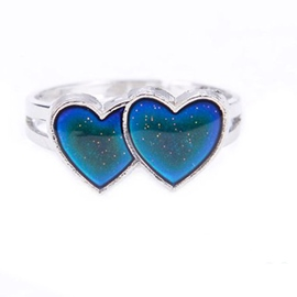 Ericdress Double Heart Creative Mood Ring Opening Ring