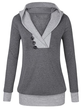 Ericdress Mid-Length Patchwork V-Neck Cool Hoodie