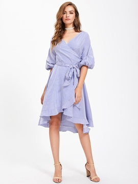 Ericdress V-Neck Vertical Striped Lace-Up A Line Dress