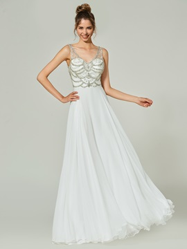 Ericdress A-Line Beading Button V-Neck Floor-Length Prom Dress