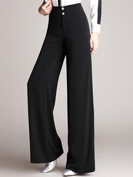 Ericdress Wide Legs High-Waist Button Pants