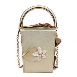Ericdress Box Shape Floral Pearl Chain Crossbody Bag