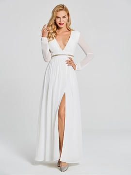 Ericdress A Line Long Sleeve Deep V Neck Chiffon Long Evening Dress