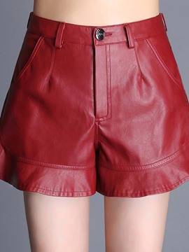 Ericdress PU Ruffles High-Waist Shorts Pants