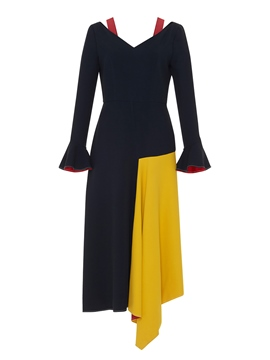 Ericdress Long Ruffle Sleeve Color Block Asymmetric Maxi Dress