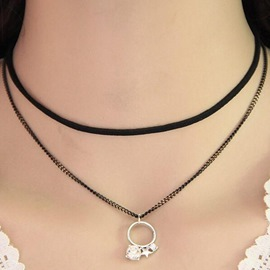 Ericdress All Match Diamante Pendant Choker Necklace