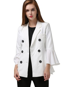 Ericdress plain double-breasted flare Hülse Blazer